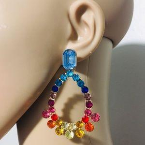 Jewelry - Multicolored teardrop gemstone rhinestone earrings